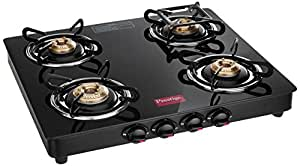 Prestige Marvel Glass Gas Table, 4 Burner Black