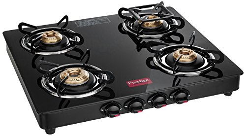 Prestige Marvel Glass 4 Burner Gas Stove, Black