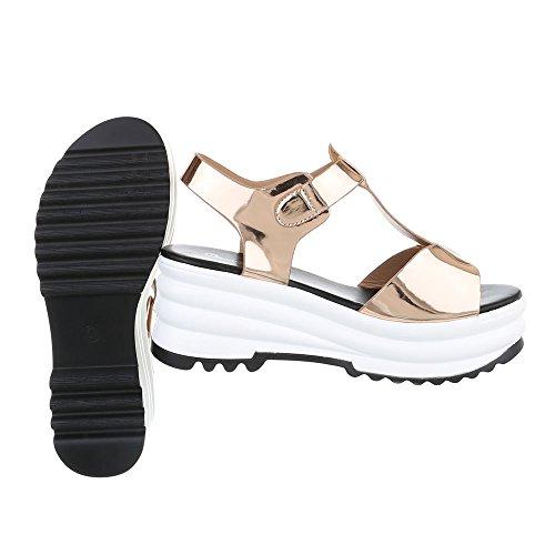 Keilsandaletten Damenschuhe Plateau Keilabsatz/ Wedge Keilabsatz Schnalle Ital-Design Sandalen / Sandaletten Rosa Gold