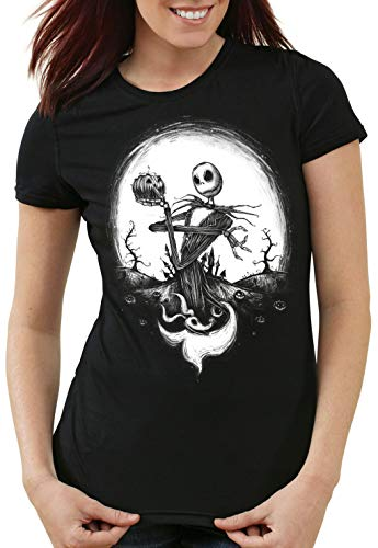 CottonCloud Jack Skellington Damen T-Shirt Christmas Before Nightmare, Größe:S (Christmas-halloween-kostüme Tim S Before Burton Nightmare)