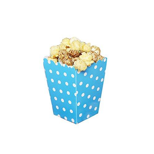 Black Temptation Popcorn Boxes Fries Cups Partyartikel - Dunkelblauer Wellenpunkt - 12PCS