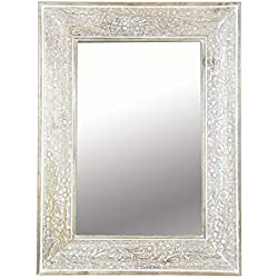 Marrakesch Lola - Espejo de Pared (60 cm, con Marco de Madera), diseño Oriental, Color marrón y Blanco