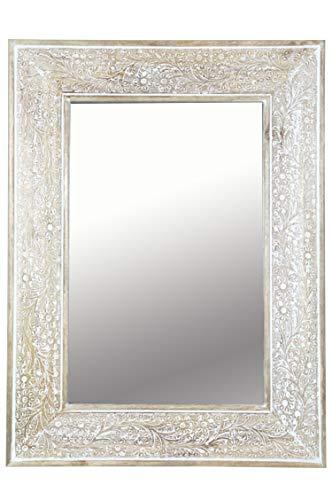 Orient Spiegel Wandspiegel Lola 60cm Braun Weiss | Großer Marokkanischer Flurspiegel mit Holzrahmen orientalisch verziert | Orientalischer Vintage Badspiegel ohne Beleuchtung als Orientalische Deko