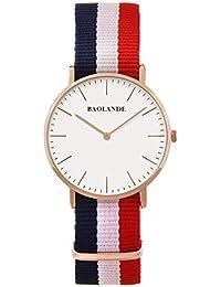 Alienwork Reloj cuarzo elegante cuarzo moda diseño atemporal clásico Nylon oro rosa azul U04821L-02