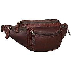 STILORD 'Eliah' Riñonera o Bolsa de Cuero Vintage Bolso de Cintura Cadera o cinturón para Hombre y Mujer para Deportes Running Fiestas Ocio o Aire Libre, Color:ébano - marrón