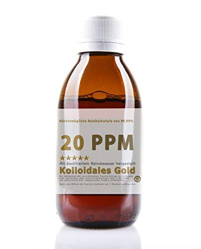 Kolloidales Gold 20PPM - Goldwasser hoch konzentriert (Reinheitsstufe 99,99{e1e9e716e6da56a738d22b922fe27b29182c653776333354471ad064f272650f}) (250ml)