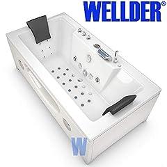 Idea Regalo - WELLDER Vasca IDROMASSAGGIO 180X90X64 32 GETTI Aria Acqua Doppia Seduta Radio LUCI LED