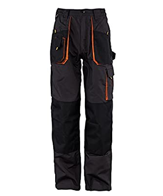 Emerton® - Herren Bundhose/Cargohose - strapazierfähig - Dunkelgrau/Schwarz/Orange