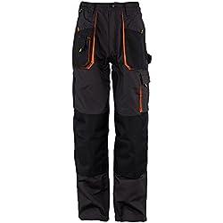 Stenso Emerton® - Pantalon de Travail/Cargo pour Homme - Robuste - Gris foncé/Noir/Orange - 52