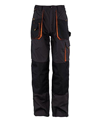 Stenso Emerton® - Pantaloni da Lavoro multitasca Extra Resistenti - Uomo - Grigio Scuro/Nero/Arancione - 54