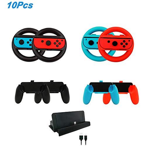 leegoal 10 in 1 Game Zubehör Kits für Nintendo Switch, 4 Joy-Con Lenkrad und 4 Joy Con Grips Griff für Joy-Con Controller, 1 Ladestation mit 1 Type C Kabel für Nintendo Switch -
