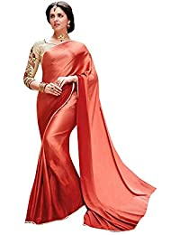 Shaily Retails Women's Red Satin Silk Lace Bordered Sarees (SALONI1054SSSR01_Red)