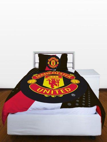 Manchester United FC Stripe Crest Single Duvet Cover & Pillowcase Set
