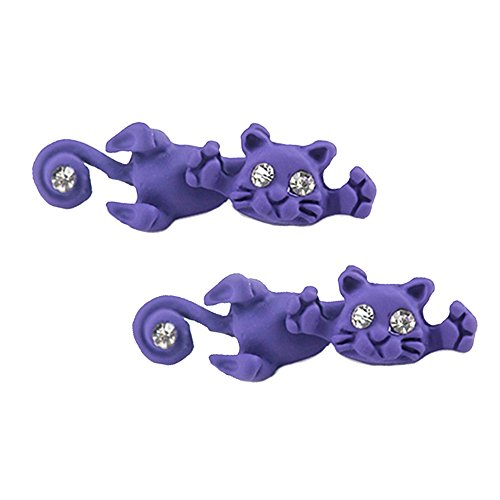 Merssavo Pendientes Animales Estereoscópicos Lindos 3D de la Arcilla del Polímero del Gato de los Pendientes Morado