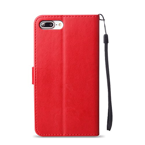 Cozy Hut iPhone 7 PLUS (5.5 Pouces) PU Housse,Slim-Fit Folio Smart Cuir Portefeuille Case Coque Etui pour iPhone 7 PLUS (5.5 Pouces),Fleur de papillon Motif PU Leather Coque Stand Flip Housse de Prote rouge