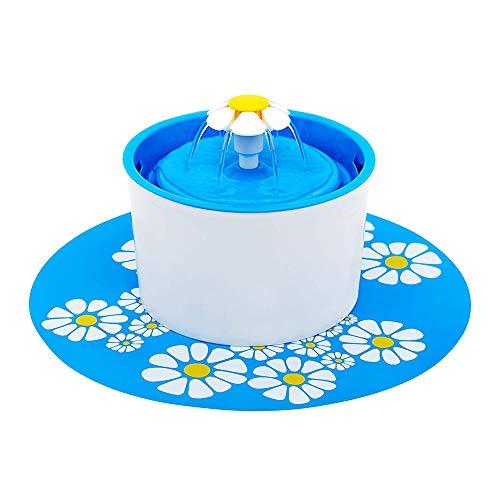 AAGOOD Cat-Brunnen automatische Haustier-Wasser-Brunnen-Haustier-Wasser-Zufuhr Pet Health Caring Brunnen Flüsterleise und niedriger Stromverbrauch sind Gummi Pad Blau
