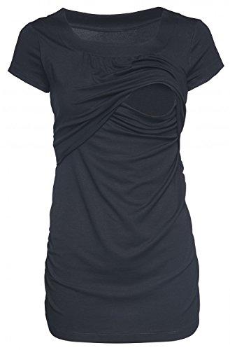 Happy Mama. Damen Umstands Still T-shirt Lagendesign. Rundhalsausschnitt. 136p (Schwarz, EU 42/44, XL)
