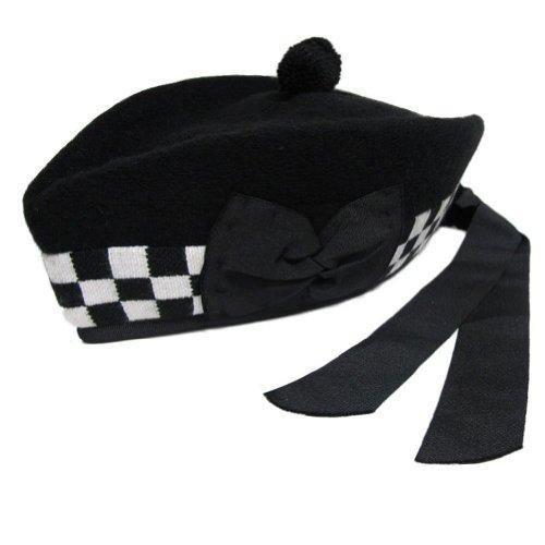 Tartanista - Herren Glengarry-Mütze - traditionell schottisch - Schwarz & schwarz-weiß kariert am Rand - 58 cm (Schwarz Und Weiß Karierte Hut)