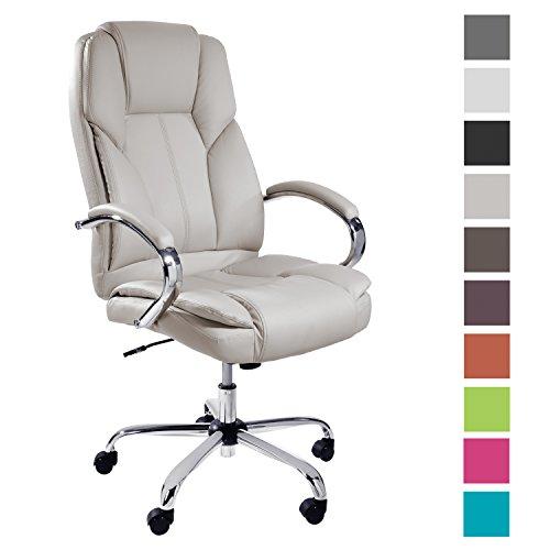 TPFLiving Premium XXL Bürostuhl Chefsessel Schreibtischstuhl DALLAS creme belastbar bis 215 kg hochwertig bequem Kunstleder Fixier- und Wippfunktion stabile Castor Rollen in 10 Farben wählbar