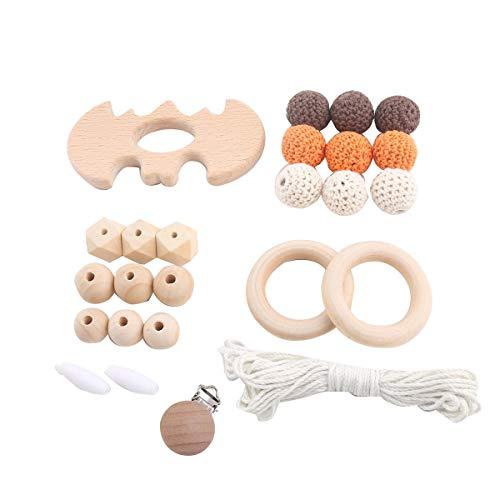baby tete DIY Holz Beißring Häkeln Perlen Ring Halloween Bat Kinderkrankheiten Spielzeug Pflege Armband Geschenk für Baby