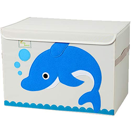 Tsingle contenitore per giocattoli misura grande cassapanca per bambini con coperchio contenitore per giocattoli pieghevole e robusto scatola organizer, portagiochi (dolphin)