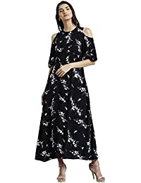 Zink London Round Neck Printed Maxi Dress for Women