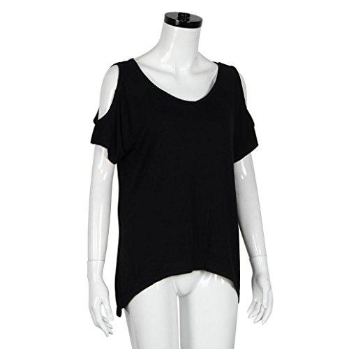 Chemisier Femme Manche Courte 2016 ÉTé Sexy Grande Taille V-Neck T-Shirt Off éPaule Casual Manches Courtes Stretch T-Shirt Solide Tops Noir