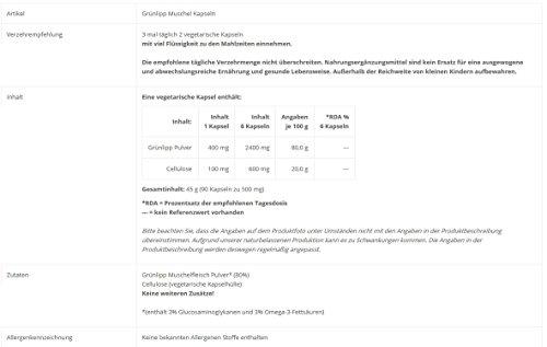 Grünlipp Muschel (90 Kapseln) Nahrungsergänzungsmittel [Grünschalmuschel, aus den Fjorden Neuseelands] Tausendkraut