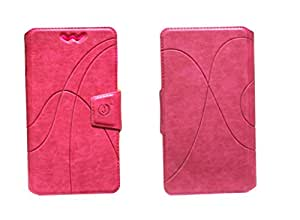 J Cover Oscar Series Leather Pouch Flip Case With Silicon Holder For verykool s4007 Leo IV Pink
