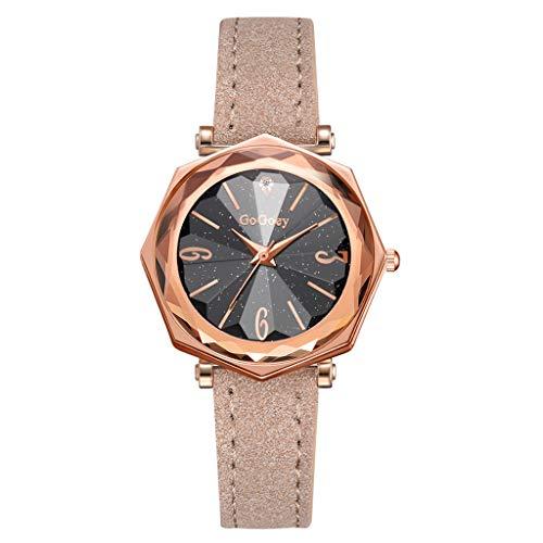 ür Damen Marmor-Zifferblatt Uhr mit Lederband Frauen Uhr Sternenhimmel Zifferblatt Casual Freizeituhr ()