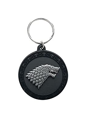Game Of Thrones House Stark Logo Official New Black Rubber Circular Keyring