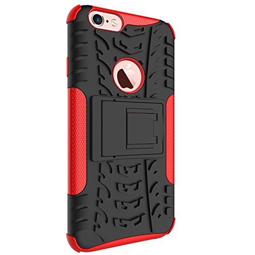 Nadakin Apple iphone 6 / 6S 4.7 inch Hülle Schutzhülle Hybrid Rugged Phone Case Stoßfest Handys Schutz Cover mit eingebautem Kickstand Shockproof für Apple iphone 6 / 6S 4.7 inch (Weiß) Rot