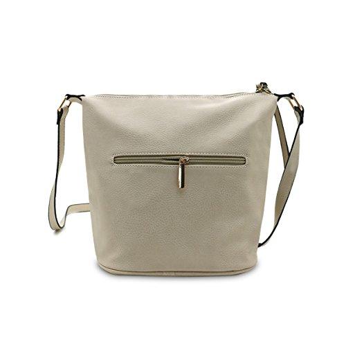 Borsa da donna Cool Girls Fashion a tracolla da donna in pelle nappa/Cross/secchio e zip Cross bag, panna CREAM BUCKET BAG (2552)