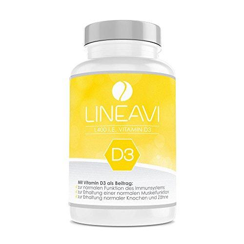 LINEAVI Vitamin D3 | 35µg / 1.400 I.E. pro Kapsel | unterstützt das Immunsystem sowie den Erhalt normaler Knochen und Zähne | in Deutschland hergestellt | 120 Kapseln (8-Monatsvorrat)