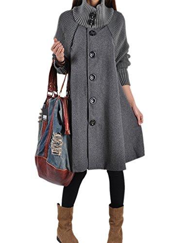 HAHAEMMA Damen Fashion Wintermantel Lang Strickmantel Fleece Knopf Swing Weit Poncho Cape Stil Stehkragen Mantel Winterjacke Loose Fit Kleid(GY,XL)