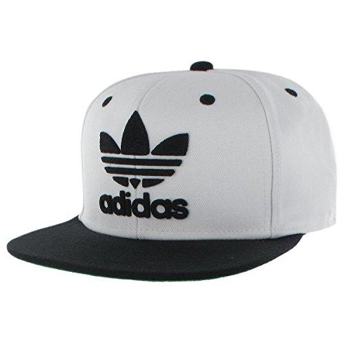Adidas Jersey Cap (Adidas Herren Originals Snapback Flatbrim Cap, Herren, Men's Originals Trefoil Chain Snapback, weiß/schwarz, Einheitsgröße)