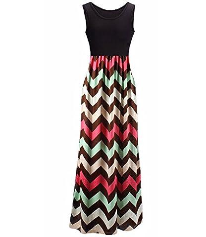 U-shot Women's Stripe Sleeveless Scoop Neck Tank Casual Contrast Color Long Maxi Dresses (S / UK 08-10, Black & Pink)
