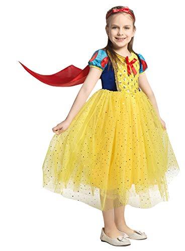 Cloud Kids Cosplay Kostüm Mädchen Prinzessin Kleid Verkleidung Karneval Faschingskostüm Festkleid Gelb Körpergröße 120-130cm (Tanzabend Kostüm Kid)