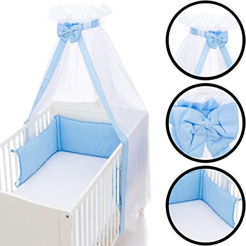Babybett Umrandung Nestchen und Betthimmel Schleier im Set 100% Baumwolle (HELLBLAU)