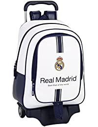 Safta Real Madrid Mochila Grande Ruedas, Color Blanco