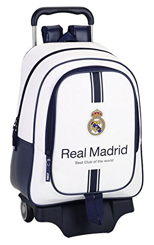 Safta Real Madrid Mochila Grande Ruedas, Color Blanco