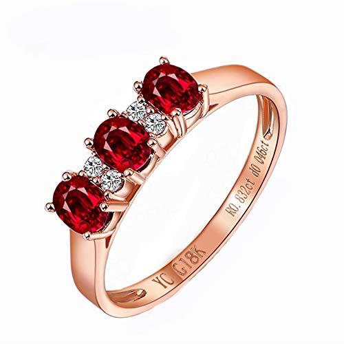 AnazoZ Echtschmuck Damen Ring 18K Rosegold Solitärring 0.5 Karat Rubin Bandring Poliert Verlobungsring Trauringe für Frauen Goldring 750 Echtgold -