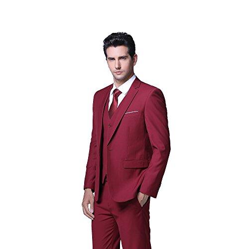 Herren Anzug Regular Fit Business Anzüge 3-Teilig Anzugjacke Anzughose Weste Rot