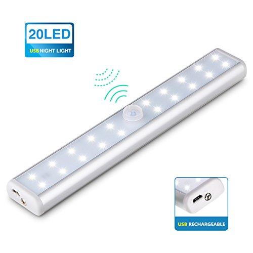 KINGSO Lampe Placard Veilleuse 20 LEDs Lampe Tube Détecteur De Mouvement à USB Rechargeable avec Interrupteur Lampe sans fil à Capteur D'Infrarouge idéal Pour Penderie, Escalier, Cabinet, Armoire
