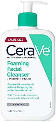 CeraVe Foaming Facial Cleanser | 16 Fl. Oz | Daily Face Wash for Oily Skin | Fragrance Free