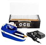 JeVx Maquina Liadora de Tabaco Electrica + 200 Tubos con Filtro OCB Entubadora para Cigarrillos de Papel de Liar Cigarros para Fumar Fumadores (Azul)