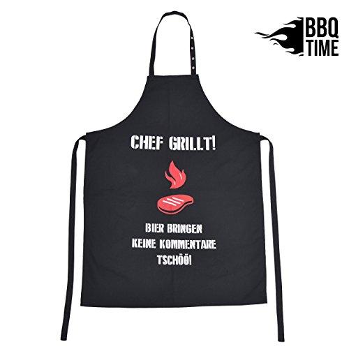 BBQ TIME Schürze, Grillschürze für Männer und Frauen, Kochschürze mit verstellbarem Nackenband, Küchenschürze Chef grillt!, Farbe: Schwarz mit farbigem Aufdruck