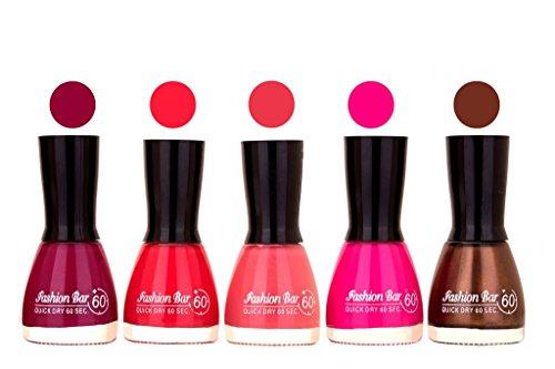 Fashion Bar Mazanta,Refish Pink,Pink,Rani Pink,Deep Brown Nail Polish (Pack of 5)