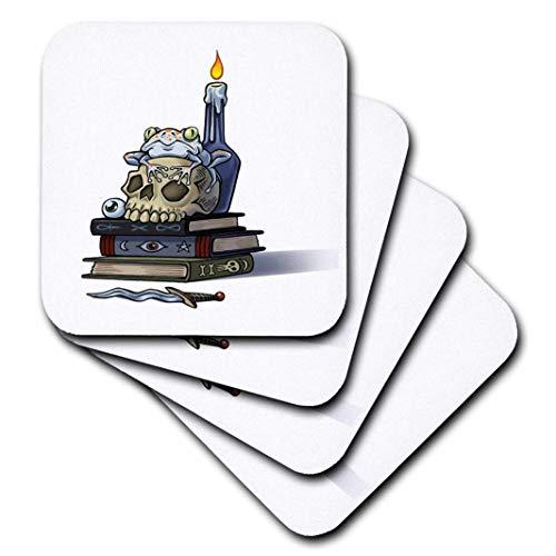 Gruseliger Halloween-Totenkopf auf Büchern mit Frosch und Kerze, Keramik, 4 Stück ()