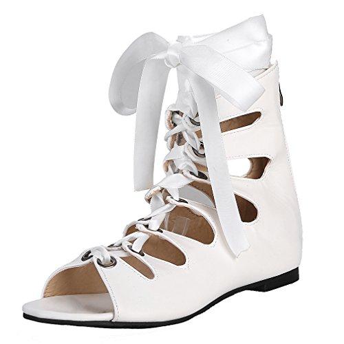 YE Damen Flache Sommer Stiefel mit Löchern Sandalen zum Schnüren Reißverschluss Bequem Schuhe Weiß